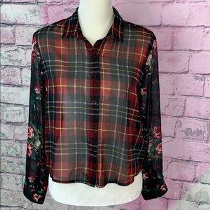 3/$25 Sans Souci semi sheer plaid floral blouse S